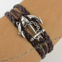 Anchor Bracelet, Antique Silver Bracelet, men leather Bracelet, Vintage style Bracelet, dark brown leather, the best choice of gifts