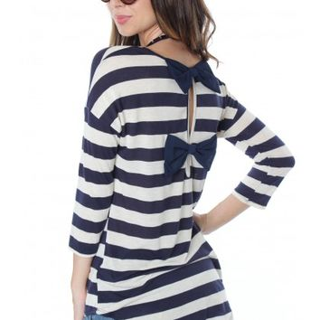 Navy Stripe Bow Blouse