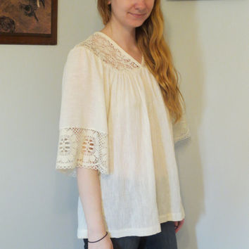 Vintage Boho Cream Flowy Blouse Top