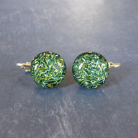 Dichroic Green Clip On Earrings, Clipon Jewelry, Fashion Earrings - Theo - 312 -2