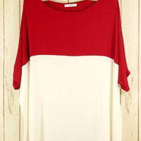 Multi Short Sleeve Top - Red and White Oversized Colorblock | UsTrendy