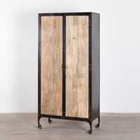 Refurbished Jean Antique Black 2-door Rolling Cabinet (India)