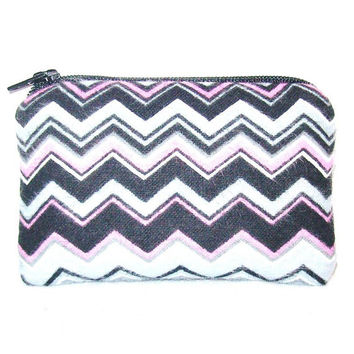 "Chevron Grey Pink Black & White Flannel Padded Pipe Pouch 4"" / Glass Pipe Case / Spoon Cozy / Piece Protector / Pipe Bag / MINI"