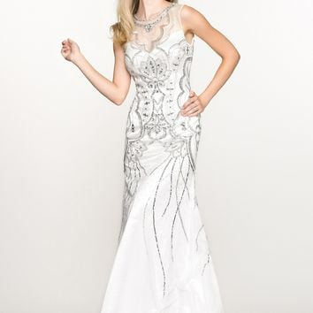 BG Haute G3312 White Beaded Sleeveless Gown