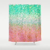 Summer Rain Merge Shower Curtain by Lisa Argyropoulos