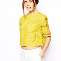 ASOS Flower Embroidered T-Shirt - Yellow