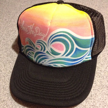 Seas the Day hand painted trucker hat