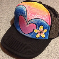 Hand painted wave heart trucker hat