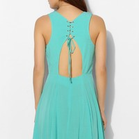 Pins And Needles Fiona Lace-Up Back Skater Dress - Urban Outfitters