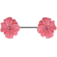 14 Gauge Pink CZ Blooming Pink Aster Flower Nipple Ring Barbell | Body Candy Body Jewelry
