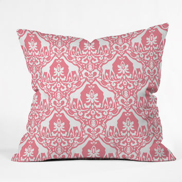 Jacqueline Maldonado Giraffe Damask Salmon Pink Outdoor Throw Pillow