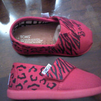 Youth Glittery Zebra / Leopard Print TOMS by CatalindaOFFICIAL