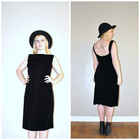 1960s 60s black velvet jean allen cocktail dress 6/7