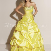 Fashion Ball Gown Sweetheart Neckline Floor Length Beadings Taffeta Graduation Dress -SinoSpecial.com