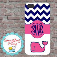 Navy and Pink Chevron Vineyard Vine Custom Monogram Phone case! iPhone 4, 5, and Galaxy 3!