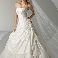 Buy Beautiful Elegant Exquisite Strapless Taffeta Wedding Dress In Great Handwork