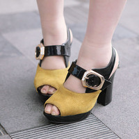Wholesale Feet to show comfortable fashion sexy joker thick heel sandals Z-BD-C8 yellow - Lovely Fashion
