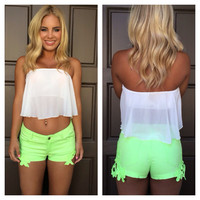 White Itsy Bitsy Crop Top
