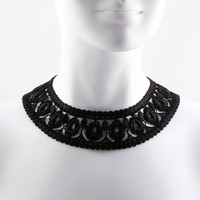 Black Intricate Lace Collar Choker Necklace  Elegant by Arthlin
