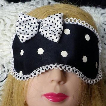Sleeping Mask in black and white Polka Dot with a Bow
