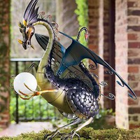 Dragon With Solar Light, Iron Dragon With Light, Dragon Light Statue - Wind &amp; Weather