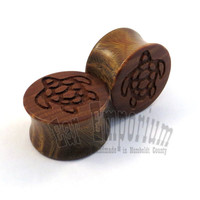 "Sea Turtle Lignum Vitae Wooden Plugs 2g (6.5mm) 0g (8mm) 00g (9mm) (10 mm) 7/16"" (11mm) 1/2"" (13mm) 9/16"" 5/8"" 11/16"" 3/4"" 7/8"" Ear Gauges"