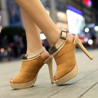 Wholesale 2012 feet to show thin fashion joker high heel sandals Z-FF-F42 yellow - Lovely Fashion