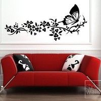 Branch with Butterfly and Flowers Vinyl Wall Decal | Styleywalls - Housewares on ArtFire