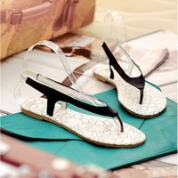 Wholesale Feet to show comfortable hot selling simple joker flat sandals Z-BL326-5 black - Lovely Fashion