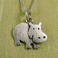 Hippo necklace by StickManJewelry on Etsy