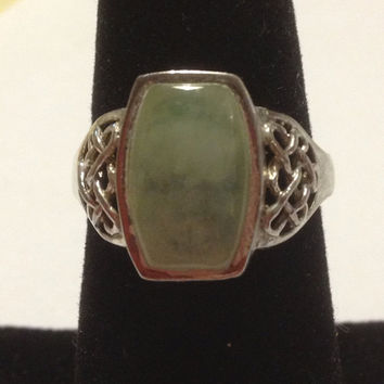 Jade Sterling Ring Size 8 Green Stone 925 Silver Vintage Jewelry Gift Orient Genuine Cocktail 80s Big Huge Spiritual Rare Boho Southwestern