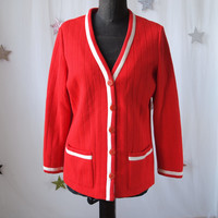 Vintage Red and Cream 60's Knit Cardigan Button Front Sweater Jacket Butte Knit size Medium