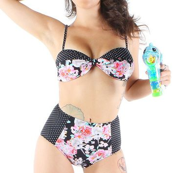 "Women's ""Buns 'N' Roses"" Bikini Set by Iron Fist (Black)"