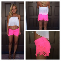 """Reck""""Lace"""" Shorts - NEON PINK"""