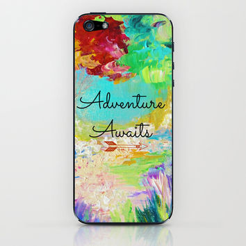 ADVENTURE AWAITS Wanderlust Typography Explore Summer Nature Rainbow Abstract Fine Art Painting iPhone & iPod Skin by EbiEmporium