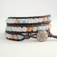 Pastel bracelet. Pale mint, white and salmon pink wrap beacelet. Summer jewelry