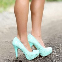 Sequin Laced Out Pumps Tiffany Blue