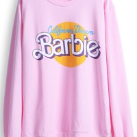 Sheinside Pink Long Sleeve Barbie Print Casual Sweatshirt