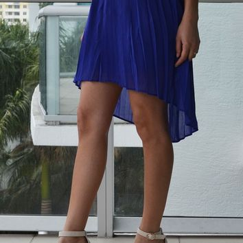 Gloria Asymmetrical Skirt in Cobalt Blue
