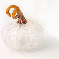 Clear Crackle Glass Pumpkin with Midnight Blue Stem by AvolieGlass