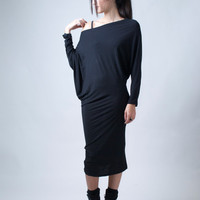 Loose Long Black Blouse Dress / Knit Ovesized Top / Extravagant Tunic/ Mini Dress - Model 23