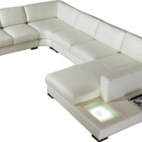 Scene Leather Modern Sectional, Modern Leather Sofa with Table - Opulentitems.com