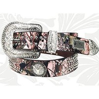 Montana West Pink Camo Steer Head Longhorn Rhinestone Leather Belt