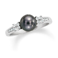 Black Cultured Freshwater Pearl and Diamond Ring in 10K White Gold - Clearance - Zales
