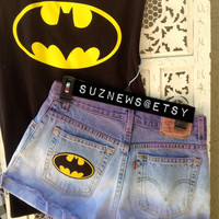 Lavender Ombre Batman Patch Levi's High Waisted Shorts Hipster Style Girls of Gotham //SUZNEWS ETSY STORE//