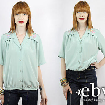 Vintage 90s Seafoam Blouse S M Button Up Blouse Button Down Blouse Secretary Blouse