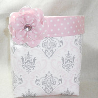 Cute Pink and Gray Damask Fabric Basket With Pink Polka Dot Liner and Detachable Fabric Flower Pin