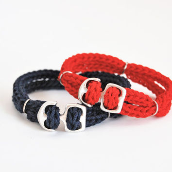 Nautical bracelet set, couple bracelet set, friendship bracelet set, red and blue nautical bracelet, anchor bracelet, cord bracelet