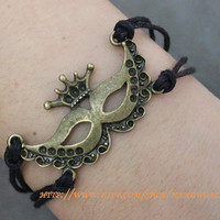 black rope bracelet bronze mask bracelet by handworld