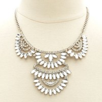 Fanned Rhinestone Statement Bib Necklace